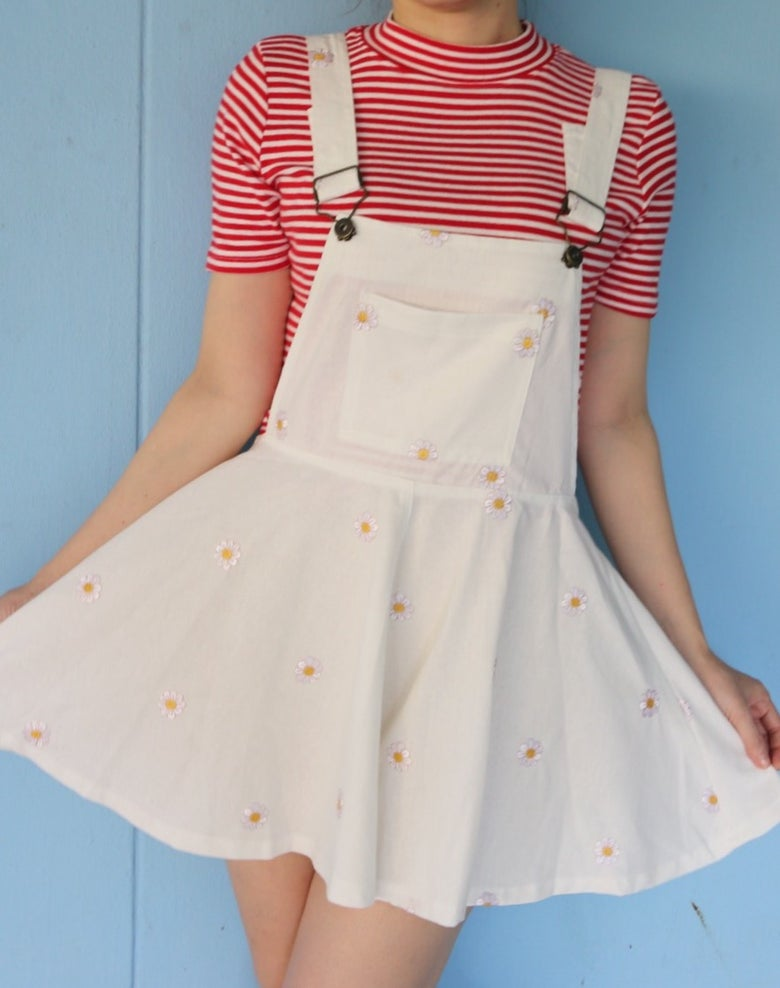 Image of Off White Daisy Pinafore