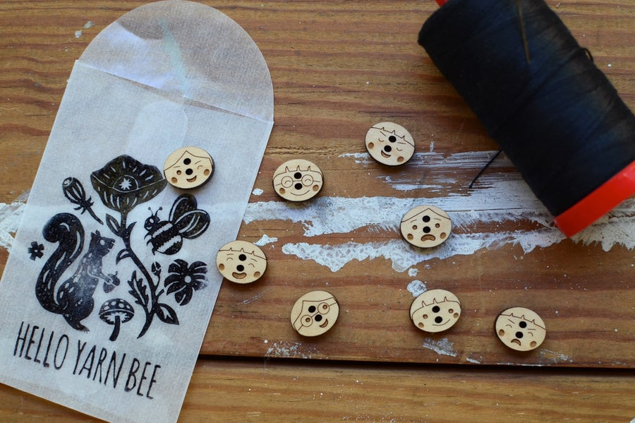 """Image of """"Our Friends"""" Maple Buttons by Hello Yarn Bee - Small"""