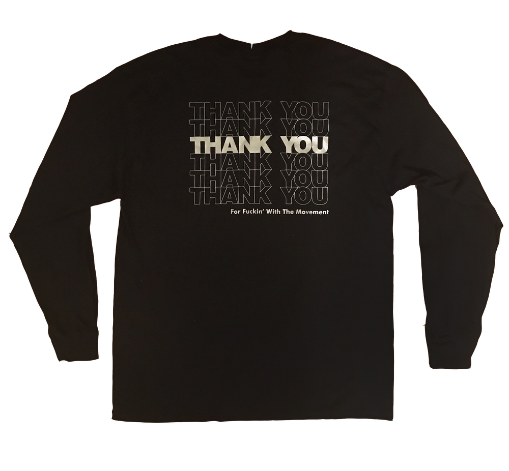 Image of THANK YOU Long Sleeve Tee (Black/Silver)