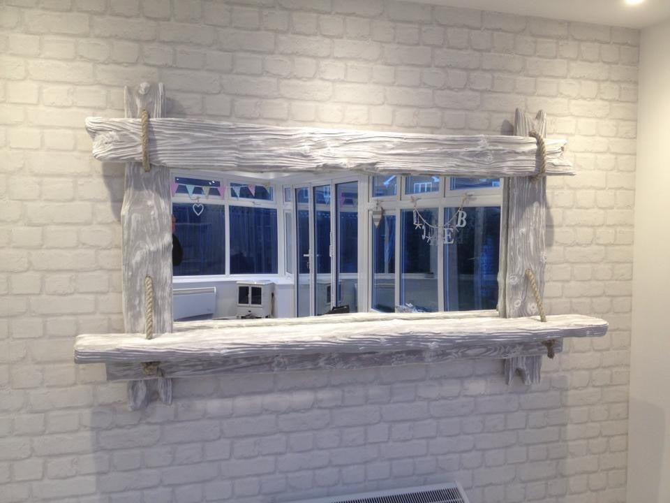 Image of Driftwood style distressed timber framed mirrors.