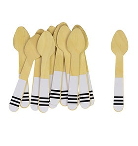 Image of Black Stripe Ice Cream Spoons