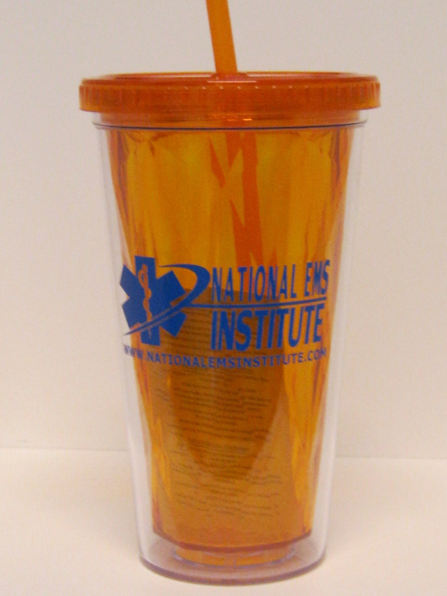 Image of NEMS Orange SpiritOptic Drinking Glass with straw