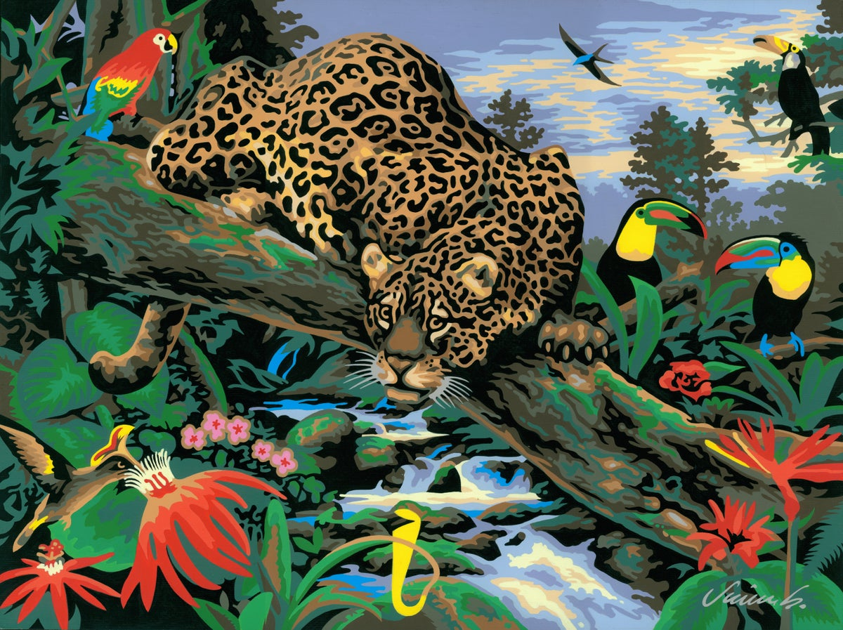 Image of JUNGLE LEOPARD acrylic painting