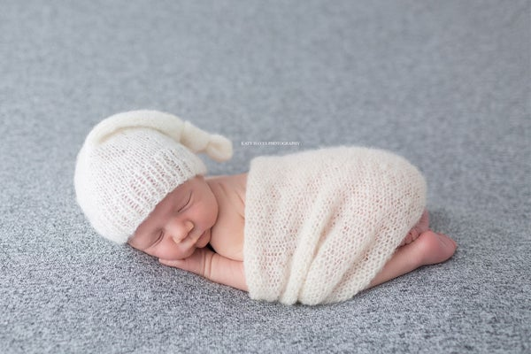 Image of Newborn, Knotted Sleeper Hat, Brushed Alpaca