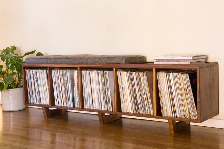 Image of Vinyl Storage Bench Hi-Fidelity Version