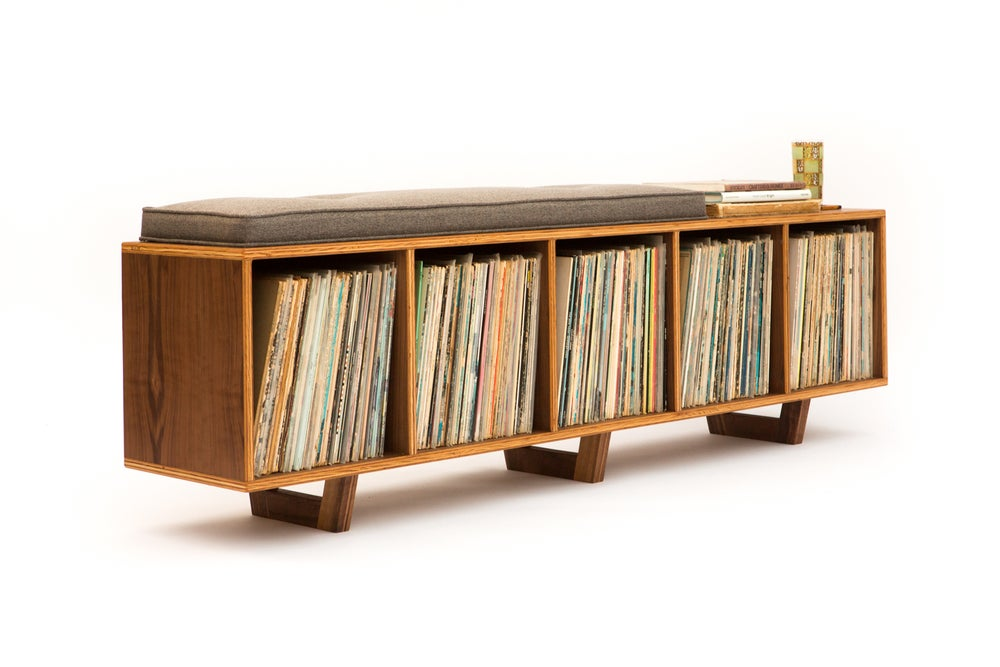 Image of Vinyl Storage Bench Low-Fidelity Version