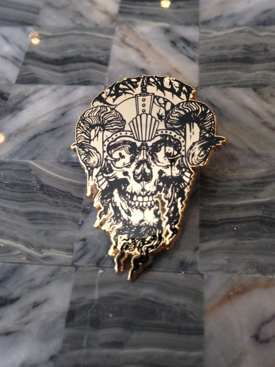 Image of Gold Kapala Skull Pin