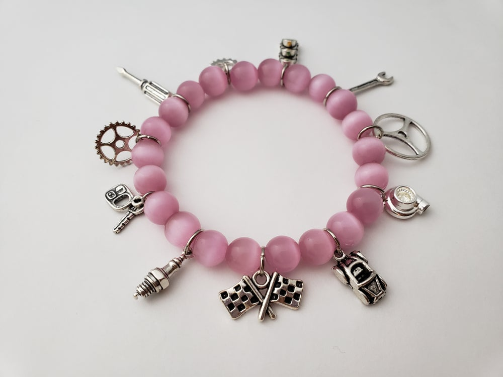 Image of Custom Beaded Car Part Charm Bracelet
