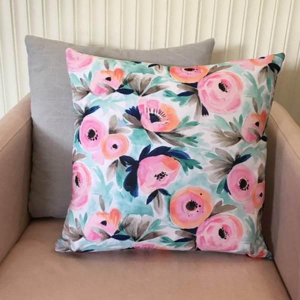 Image of Spring floral Cushion with grey