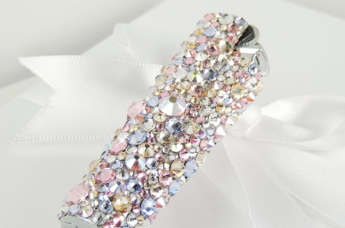 Image of Rose Gold & Grace Clipper Lighter. Crystals by Swarovski®