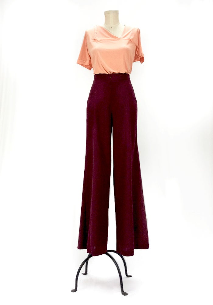 Image of Kate Hepburn Pants (Burgundy)