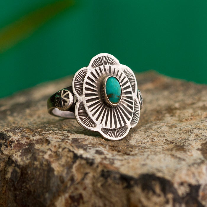Image of True West Ring • Stamped Sterling & Turquoise
