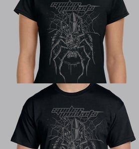 "Image of Black T-Shirt with ""rocket spider"" art"