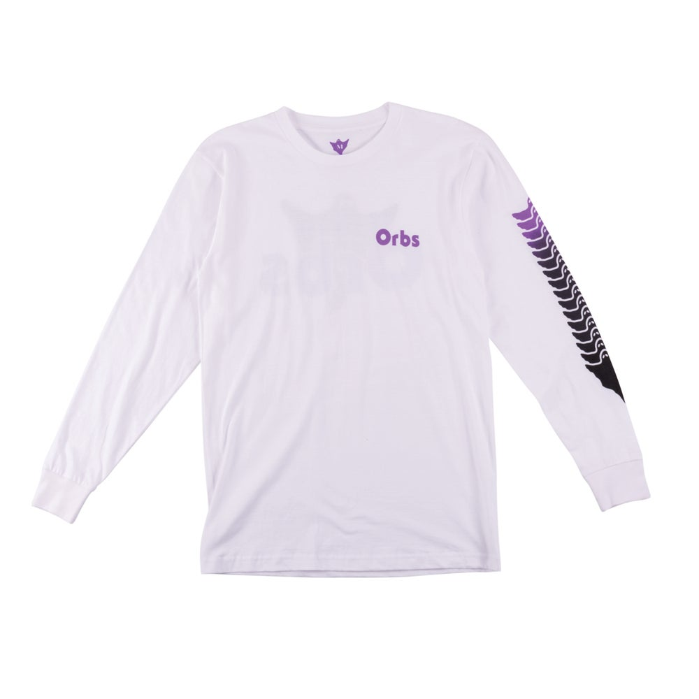 Image of Ghost Fade Long Sleeve Tee - White/Purple