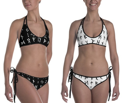 Image of RUNE BIKINI SWIMSUIT BLACK AND WHITE REVERSIBLE