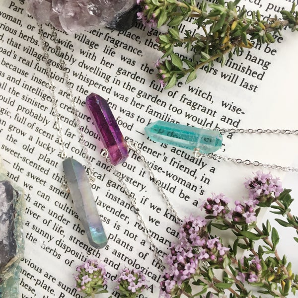 Image of Nyx Necklace - Aura Quartz, Silver Finish