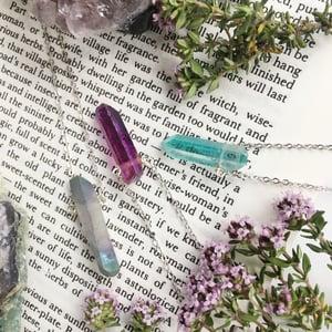 Image of Nyx Necklace - Aura Quartz, Silver Finish