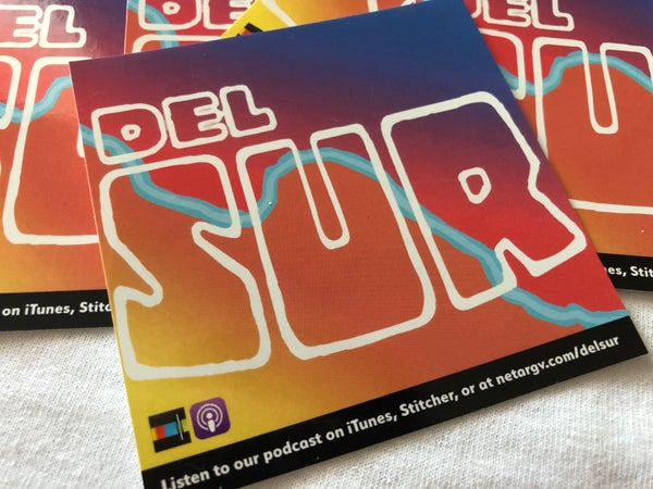 """Image of Del Sur Podcast 3.5"""" x 3.5"""" sticker"""