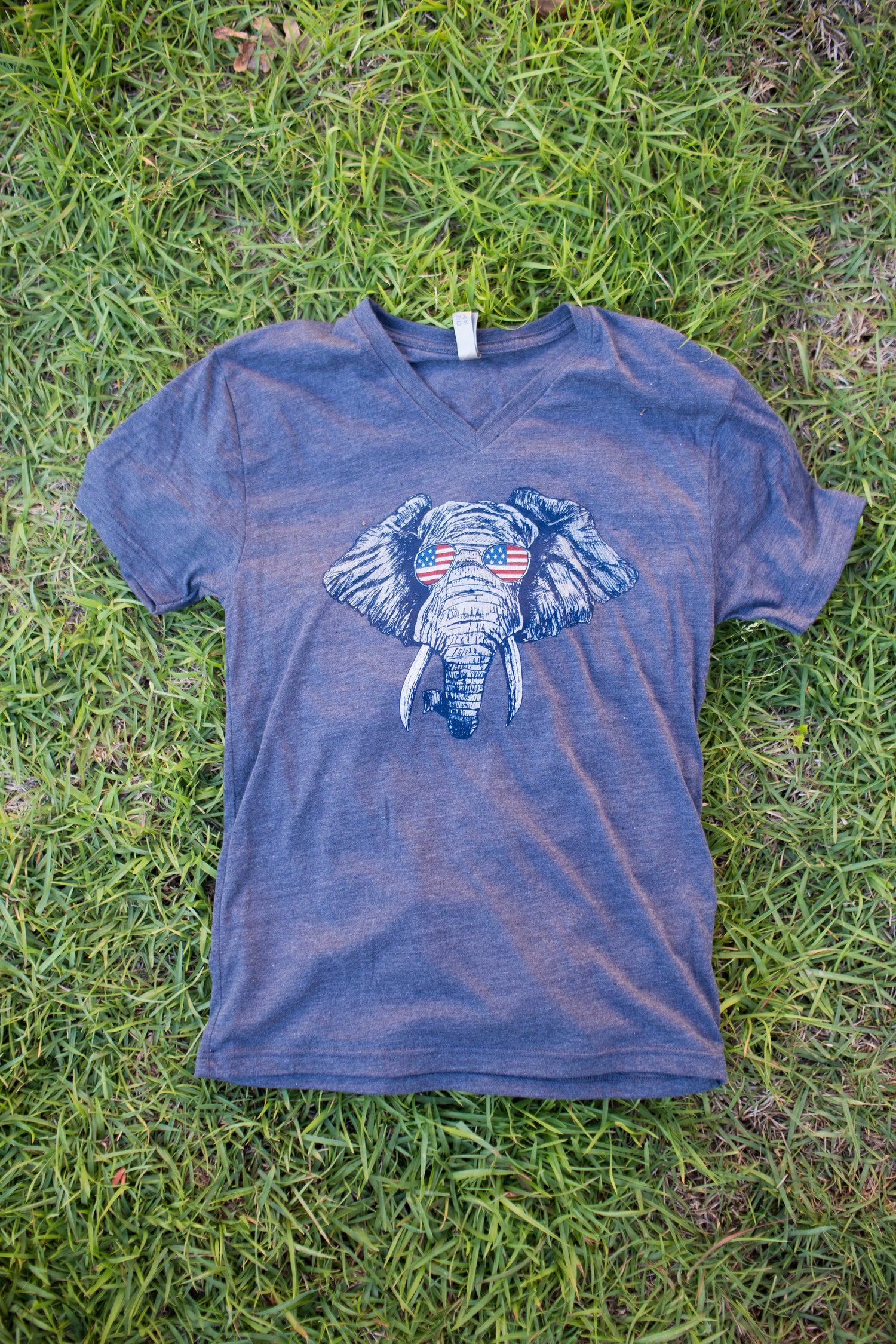Image of Adult V-Neck Elephant USA tee