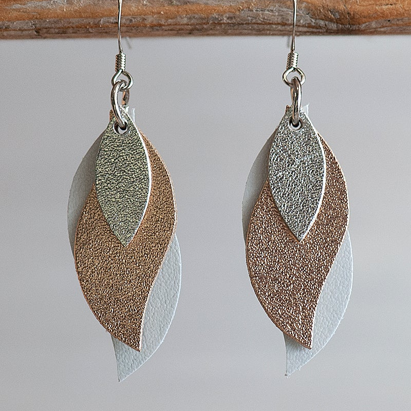 Image of Handmade Kangaroo leather leaf earrings - Silver, rose gold, pearl white [LMT-171]
