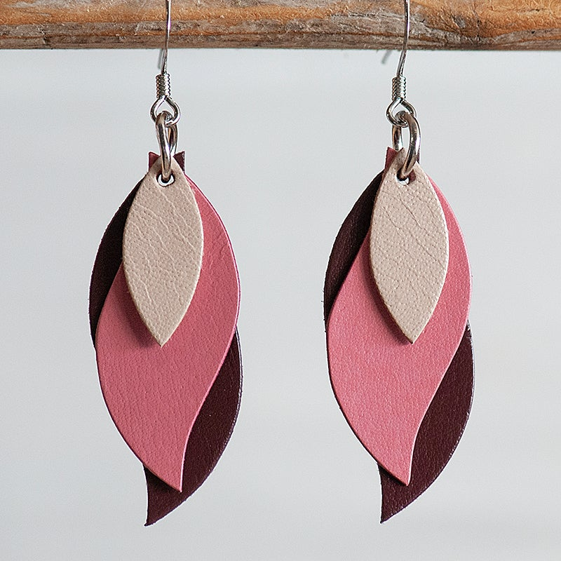 Image of Handmade Australian leather leaf earrings - Beige, pink, maroon [LPK-121]