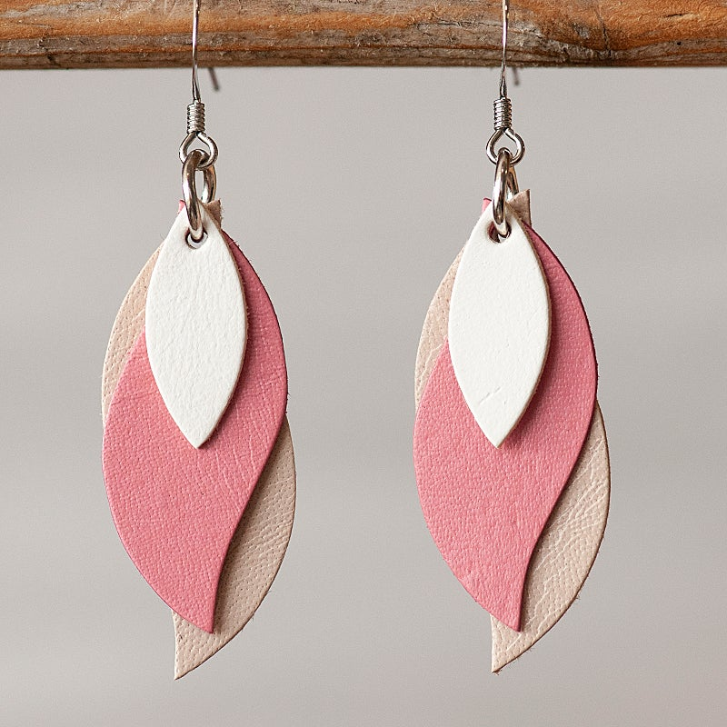 Image of Handmade Kangaroo leather leaf earrings - White, pink, beige [LPK-120]