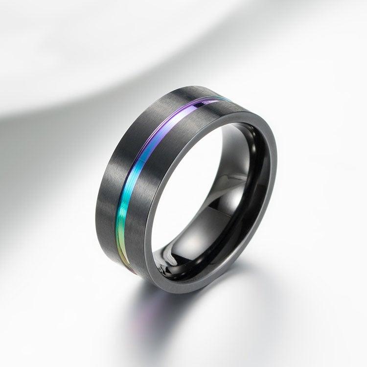 Image of titanium carbide rainbow ring