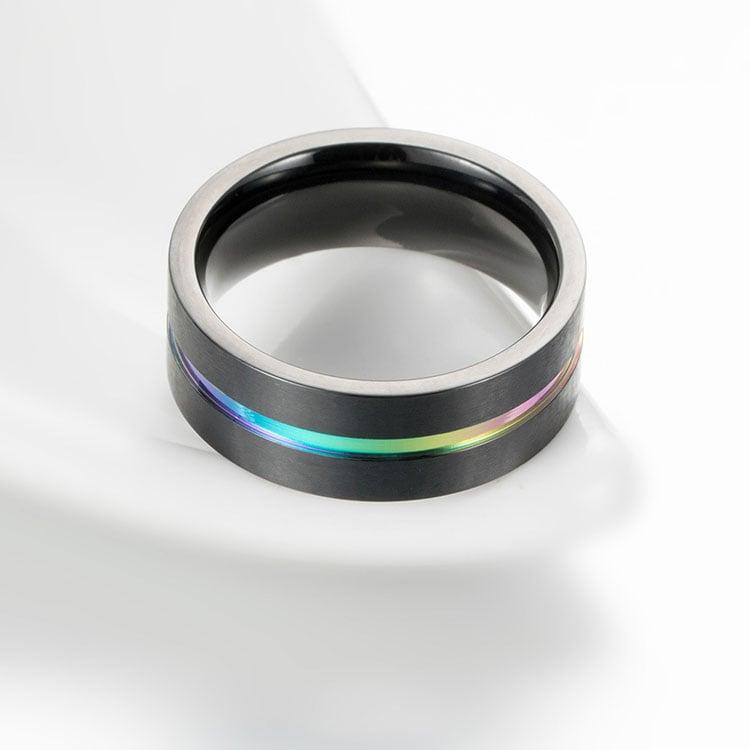 Image of titanium carbide rainbow ring