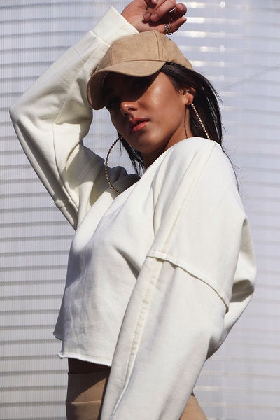 Image of Soft Cropped Sweatshirt -Off White