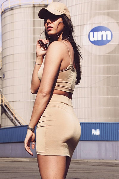 Image of Jersey Bodycon Skirt - Camel