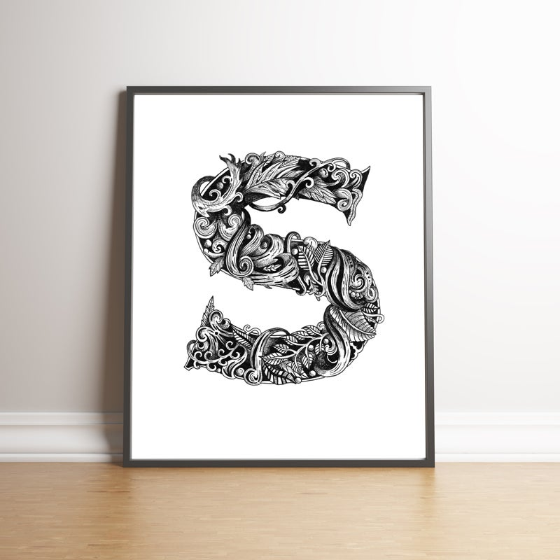 Image of Ornate Letter 'S' limited edition handsigned print