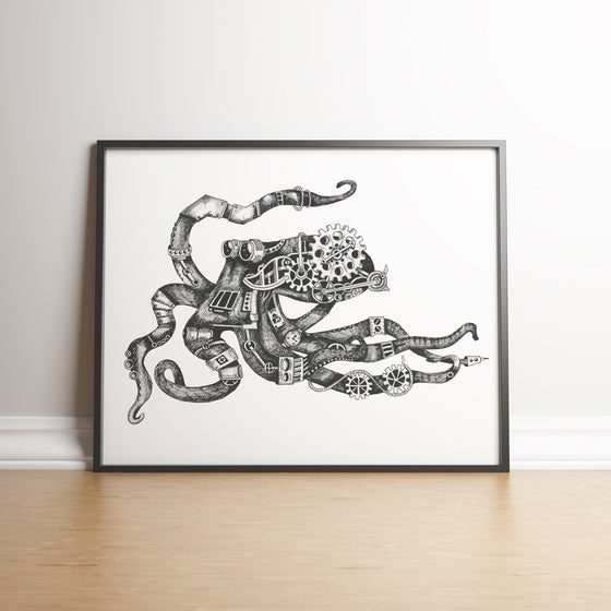 Image of Fletcher the Steampunk Octopus limited edition hand signed print