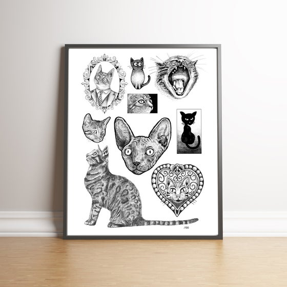 Image of Nine Lives - limited edition cats handsigned print