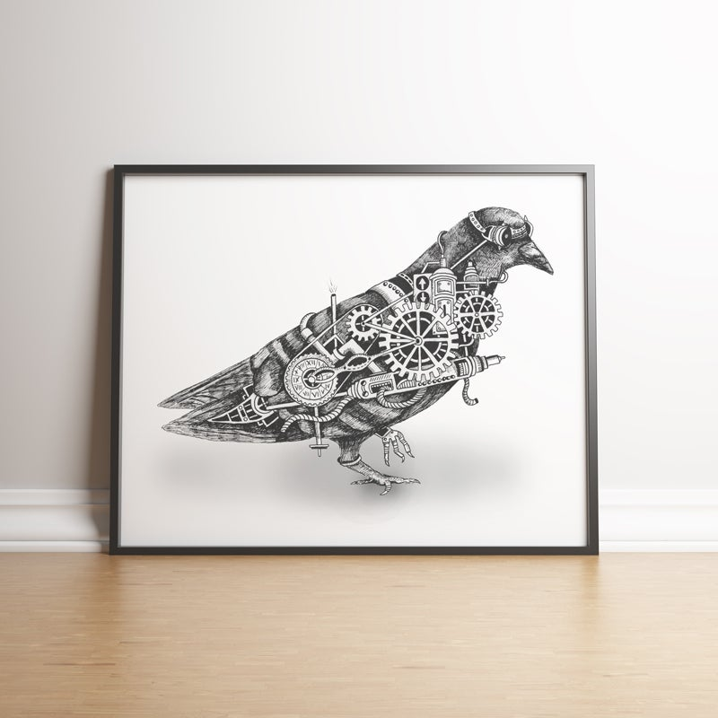 Image of Steampunk Pigeon limited edition hand signed print