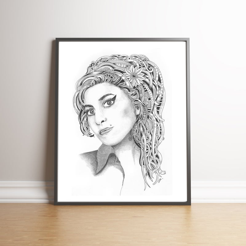 Image of Amy Winehouse limited edition hand signed print
