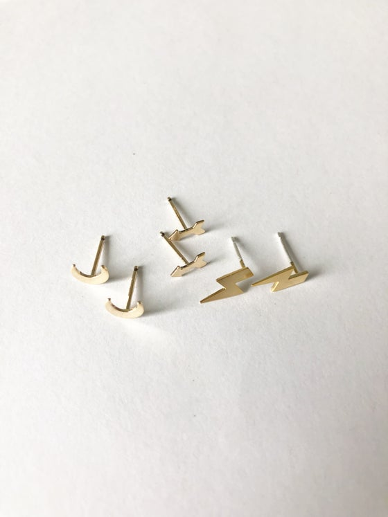 Image of Gold Post Earrings: moon, arrow or lighting bolt
