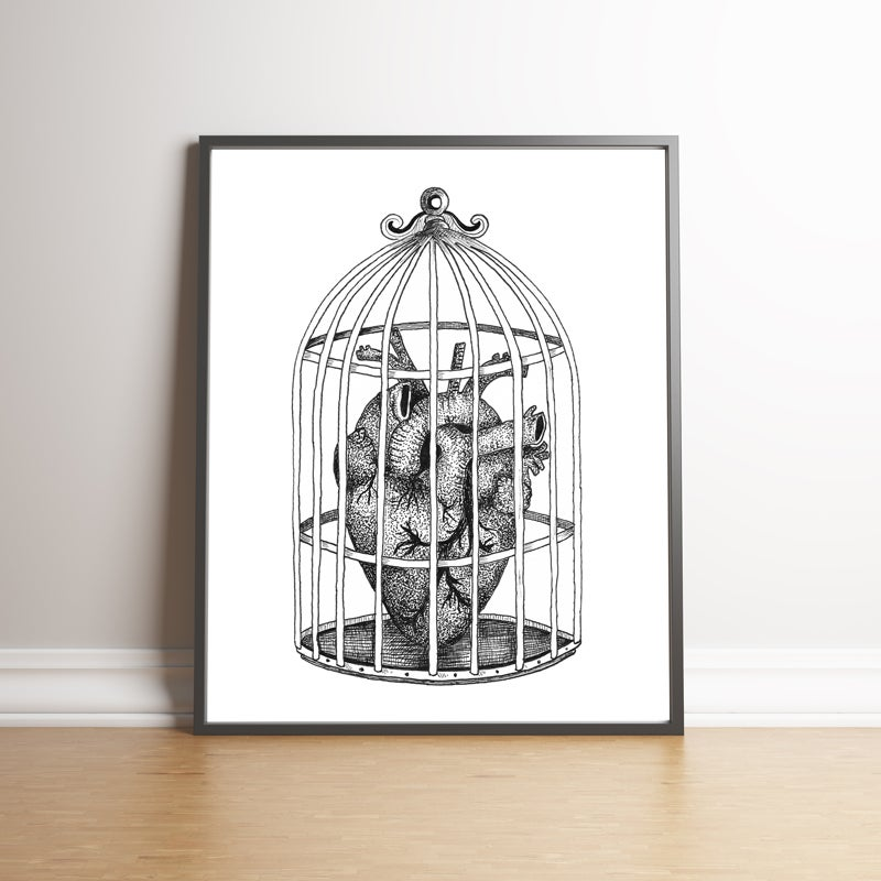 Image of Caged Heart limited edition hand signed print