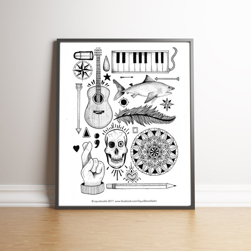 Image of Tattoo Elements limited edition hand signed print