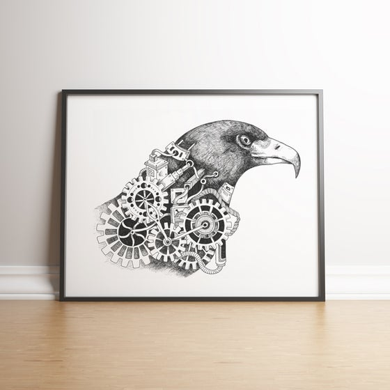 Image of Steampunk Eagle limited edition hand signed print