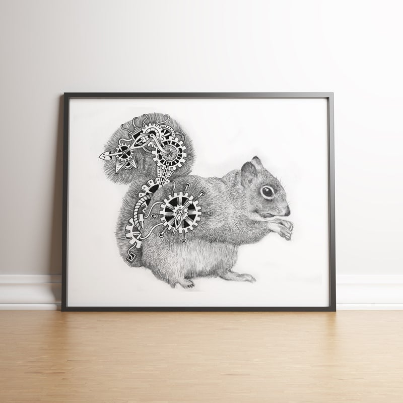 Image of Steampunk Squirrel limited edition hand signed print