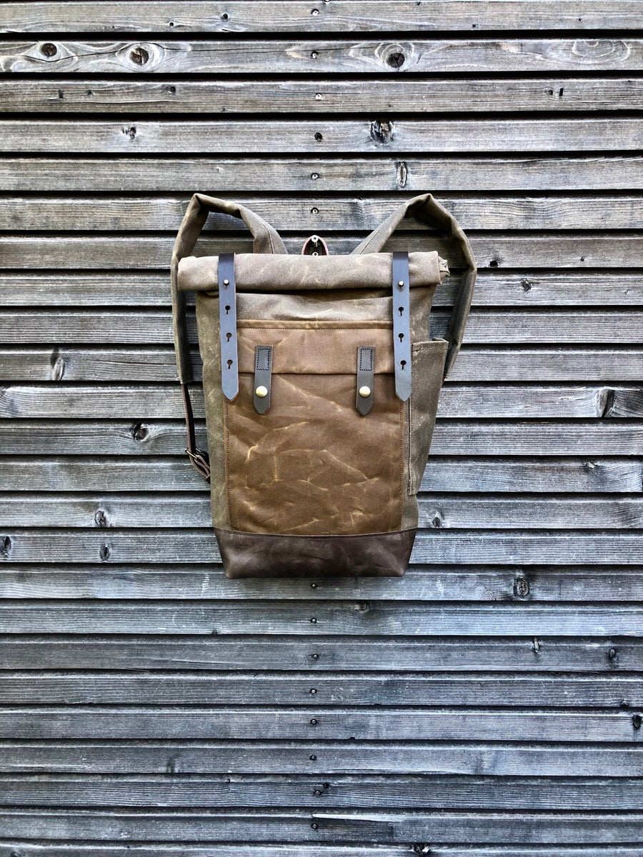 Image of Waxed canvas knapsack medium size / Hipster Backpack with roll up top and leather bottom
