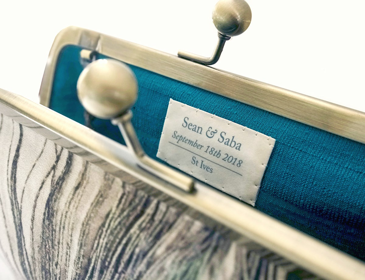 Image of Custom hand-stitched silk label for your Red Ruby Rose clutch