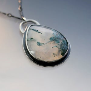 Image of Sterling Silver Green Moss Agate Necklace
