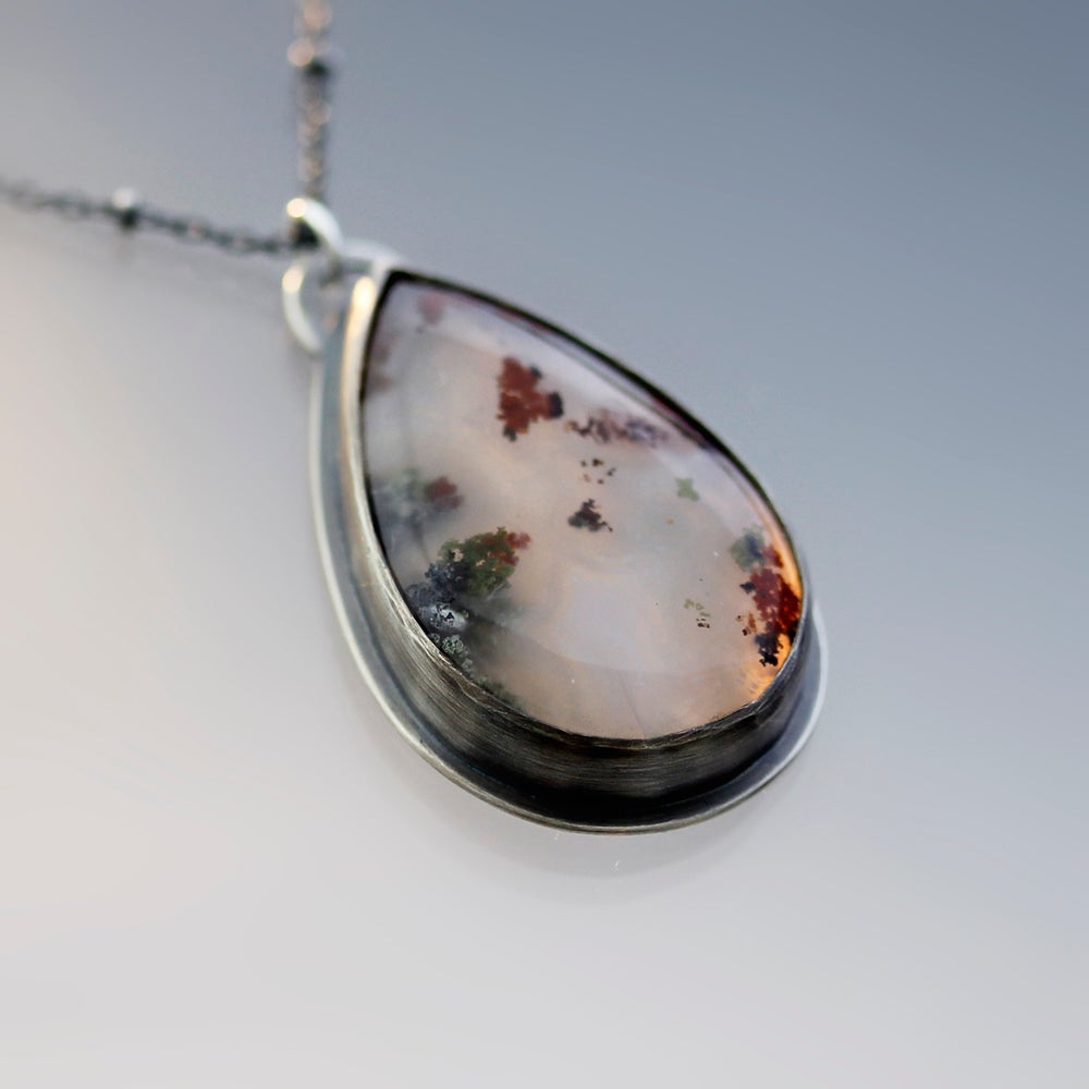 Image of Sterling Silver with Red and Green Moss Agate Necklace