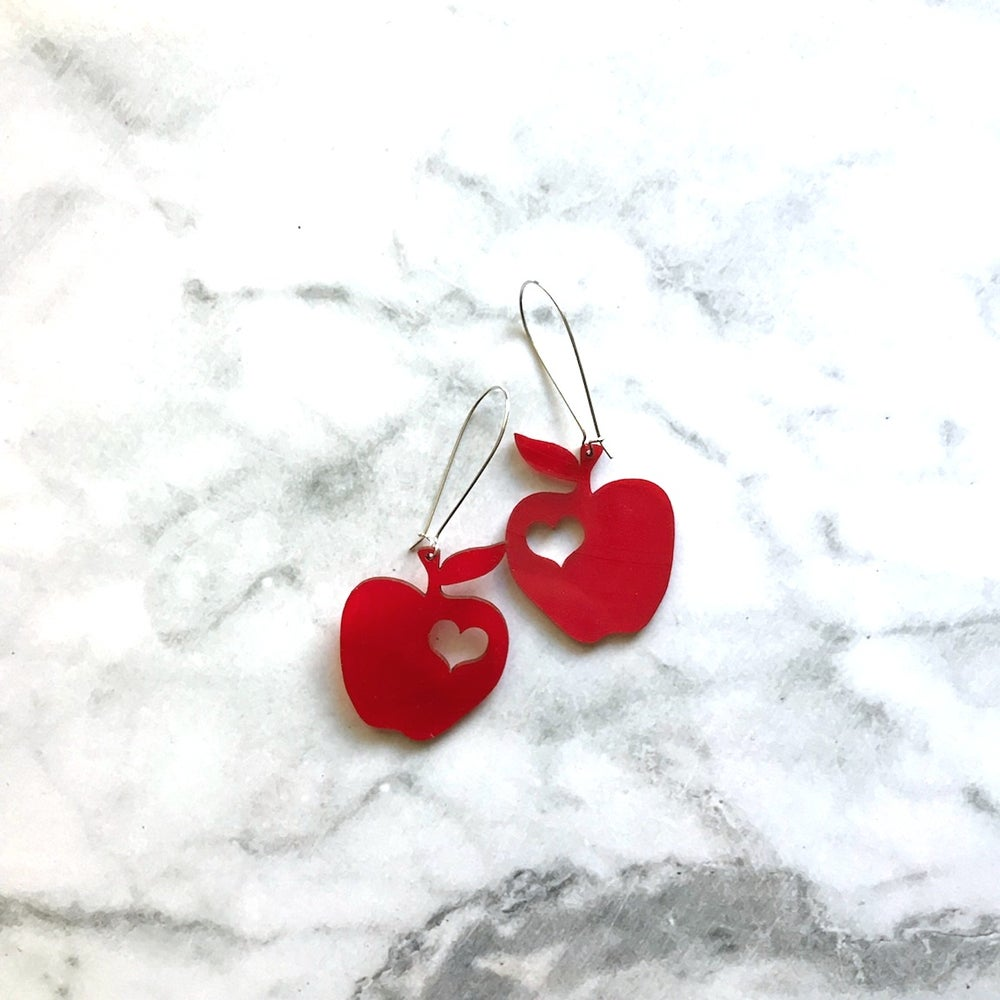 "Image of I heart apples earrings ""made from real vinyl records"""