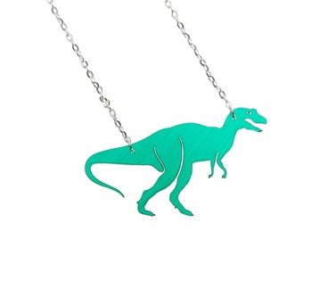 """Image of T-Rex necklace """"made from pre-loved vinyl records"""""""