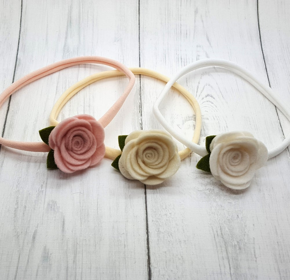 Image of CHOOSE YOUR COLOUR - Medium Felt Rose Headband or Clip - Choice of 50 Colours