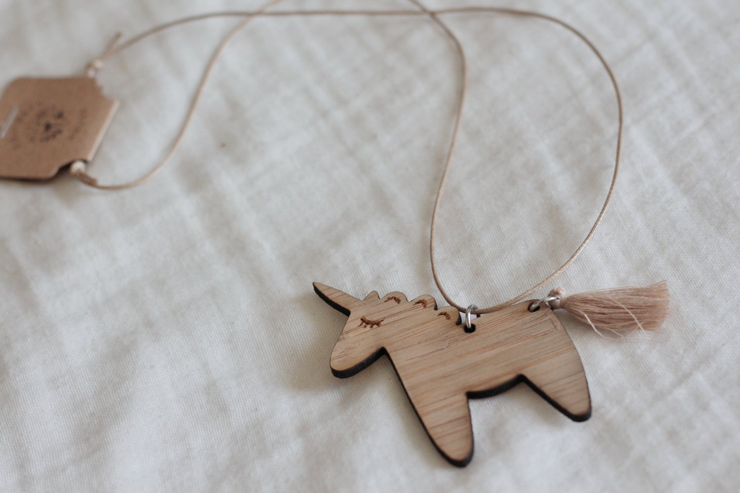 Image of Unicorn necklace - Beige tail