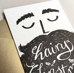 Image of Hairy Christmas - black with gold envelope