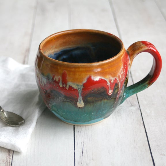 Image of Favorite Stoneware Coffee Mug in Multi Colored Glazes Handmade in USA